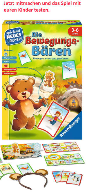 Mit dem Spiel Die Bewegungs-Bären bewegen sich Kinder mit viel Fantasie und Spaß und schulen dabei spielerisch ihre motorischen Fähigkeiten und ihr Körpergefühl